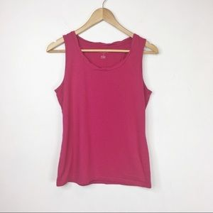 TALBOTS pink tank top detailed neckline 0356
